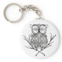 Fancy Flourish Owl Black and White Keychain