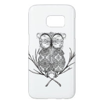 Fancy Flourish Owl Black and White Samsung Galaxy S7 Case