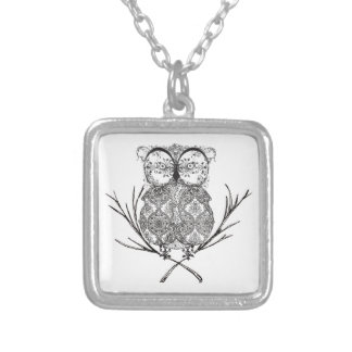 Fancy Flourish Owl Black and White Silver Plated Necklace