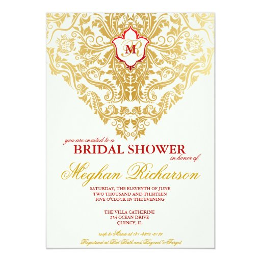 Fancy Flourishes Golden Bridal Shower Invitation
