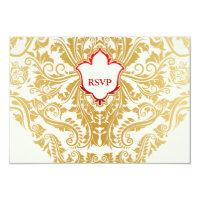 Fancy Flourishes Golden Indian Arabic Wedding 3.5x5 Paper Invitation Card (<em>$2.07</em>)