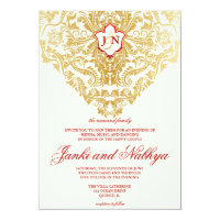 Fancy Flourishes Golden Indian Arabic Wedding 5x7 Paper Invitation Card (<em>$2.22</em>)