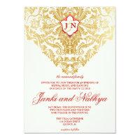 Fancy Flourishes Golden Indian Arabic Wedding Card (<em>$2.17</em>)