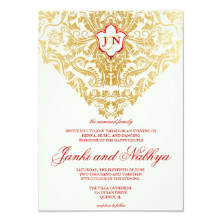 fancy flourishes golden indian arabic wedding card - Arabic Wedding Invitations