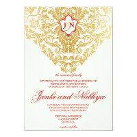Fancy Flourishes Golden Indian Arabic Wedding Card (<em>$2.22</em>)