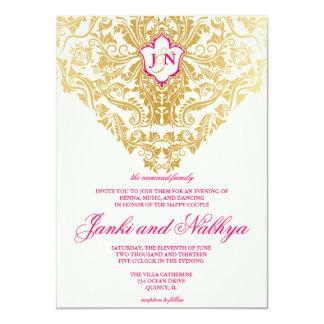 Fancy Flourishes Golden Indian Arabic Wedding 4.5x6.25 Paper Invitation Card
