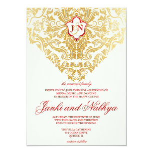 Fancy Flourishes Golden Indian Arabic Wedding Invitation