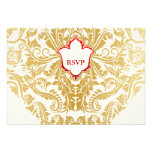 Fancy Flourishes Golden Indian Arabic Wedding Personalized Announcement