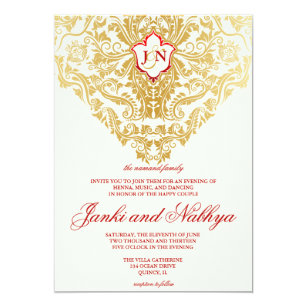 Arabic invitations zazzle fancy flourishes golden indian arabic wedding invitation filmwisefo
