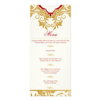 Fancy Flourishes Golden Indian Arabic Wedding Menu Rack Card Design