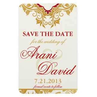 Fancy Flourishes Golden  Save the Date Magnets