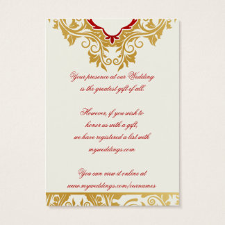 Fancy Flourishes Golden Wedding Gift Registry Card
