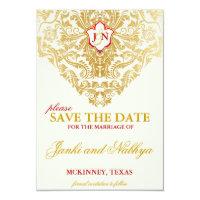Fancy Flourishes Golden Wedding Save the Dates Card (<em>$1.96</em>)