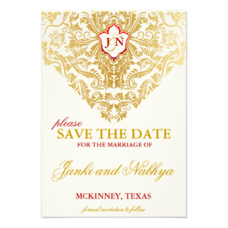 Fancy Flourishes Golden Wedding Save the Dates Personalized Invite