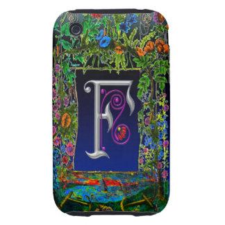 Fancy Flower Letter F Monogram Art Tough iPhone 3 Cover