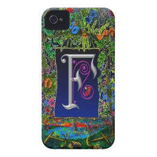 Fancy Flower Letter F Monogram Art iPhone 4 Cover