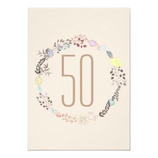 Fancy Flowers and Diamonds 50th Birthday Card