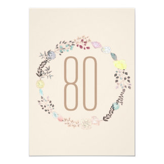 Fancy Flowers and Diamonds 80th Birthday Card