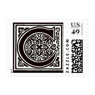 Fancy font Black and White Monogram - Letter C Postage Stamps