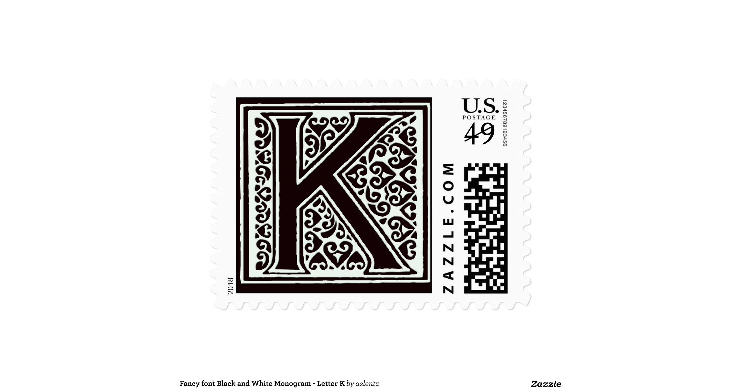 Fancy_font_black_and_white_monogram_letter_k_postage 172974323890185834 on Pre K Letter Art
