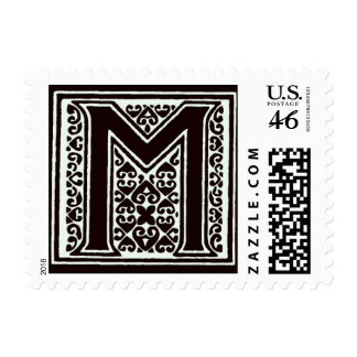 Fancy font Black and White Monogram - Letter M Postage Stamp