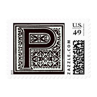 Fancy font Black and White Monogram - Letter P Postage