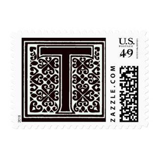Fancy font Black and White Monogram - Letter T Postage Stamp