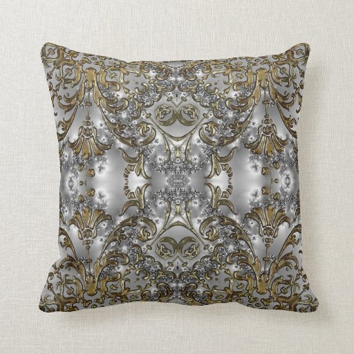 Fancy - Formal Carved Gold + Silver Throw Pillow Zazzle