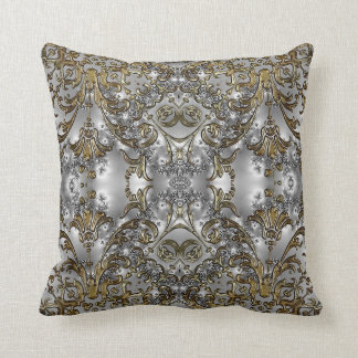 Fancy - Formal Carved Gold + Silver Throw Pillow