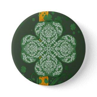 Fancy Four Leaf Clover Button