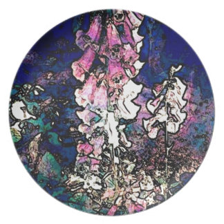 Fancy Foxglove Floral Art Melamine Plate