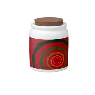 Fancy Fractal Swirl Maroon & Green Candy Jar