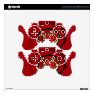 Fancy Fractal Swirl Maroon & Green PS3 Controller Decals