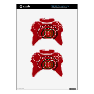 Fancy Fractal Swirl Maroon & Green Xbox 360 Controller Skin