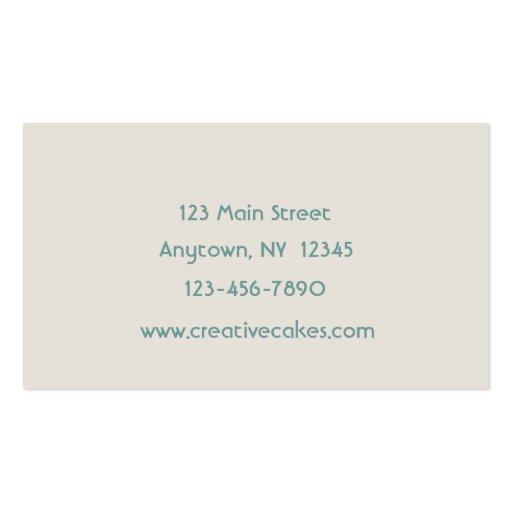 Fancy Frame Blue Cupcakes Business Card (back side)
