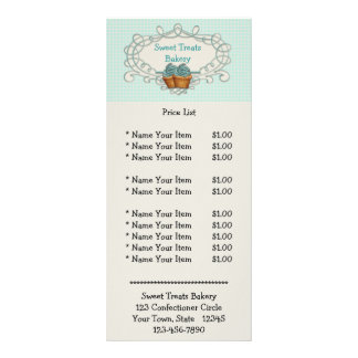 Fancy Frame Blue Cupcakes Rack Card