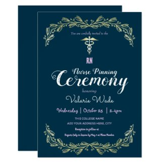 Fancy Frame Graduation RN Nurse Pinning Ceremony Invitation