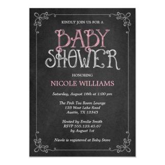 """Fancy Frame Pink Vintage Chalkboard Baby Shower 5"""" X 7"""" Invitation Card"""