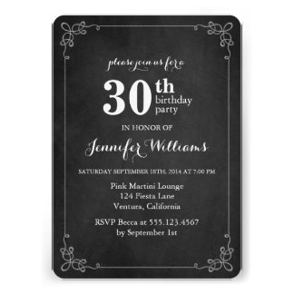 Fancy Frame Vintage Chalkboard Birthday Party Custom Announcements