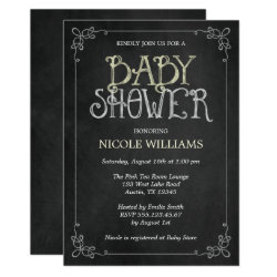 Fancy Frame Yellow Vintage Chalkboard Baby Shower Invitation