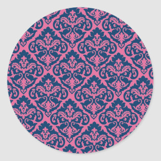 Fancy French Damask Classic Round Sticker