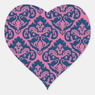 Fancy French Damask Heart Sticker