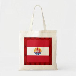 Fancy French Polynesia Flag on red velvet backgrou Budget Tote Bag