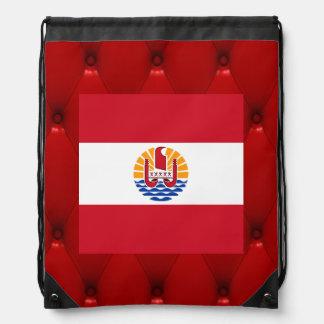 Fancy French Polynesia Flag on red velvet backgrou Drawstring Bag