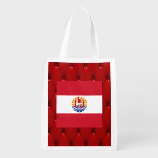 Fancy French Polynesia Flag on red velvet backgrou Reusable Grocery Bag