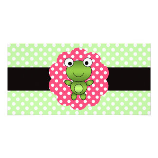 Fancy frog green white polka dots personalized photo card