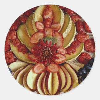 Fancy fruit plate classic round sticker