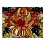 Fancy fruit plate postcard