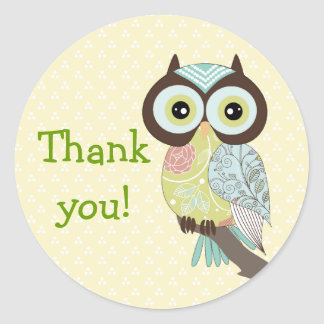 Fancy Funky Owl Thank you Stickers