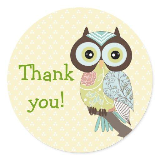 Fancy funky owl thank you stickers zazzle
